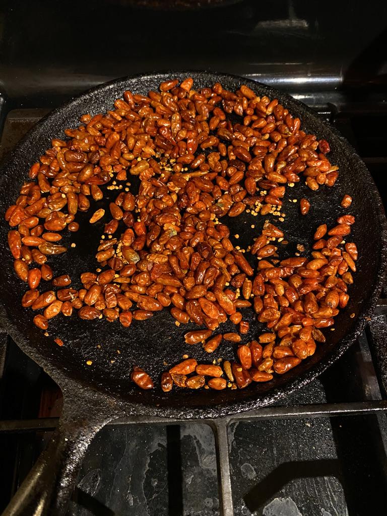 Roast Pequin Chiles
